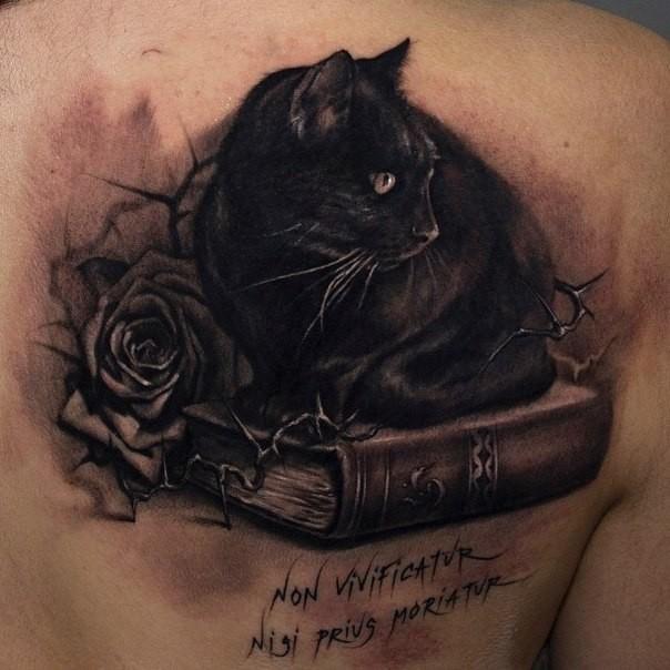 Book Cover Black Tattoo : Black cat sitting on a book tattoo tattooimages