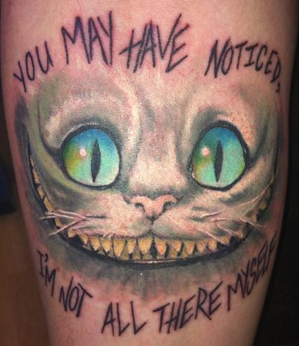Amazing cheshire cat smile artwork tattoo for Smile more tattoo