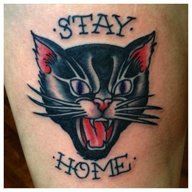 Black Cat Hissing Tattoo