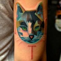 Cat polygonal tattoo
