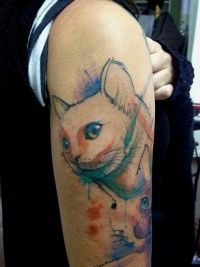 Cat tattoo watercolor
