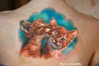 Cat tenderness tattooon the back by nikasamarina