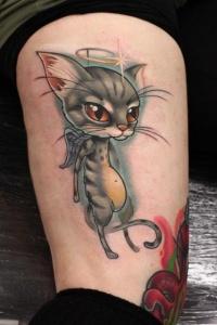 Coloured cat angel tattoo