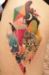 Water color cat tattoo